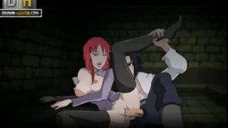 Sasuke acabandole a karin en toda la cara